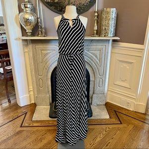 Calvin Klein Stripe Keyhole Maxi Dress Black White